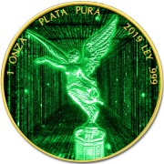 Mexico CRYPTO DIGITAL RAIN LIBERTAD 1 Onza Silver coin 2019 Gold plated 1 oz